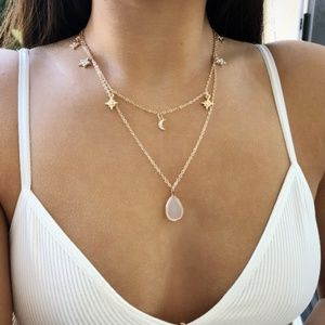 Jewelry - 5 for $25 Two Layer Gold Color Star Moon Necklace